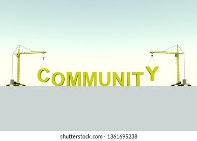 COMMUNITY building concept crane white background 3d illustration