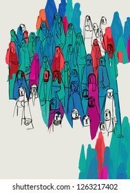 Community feeling and diversity. Social and human heterogeneity. Psychology. Population and citizenship concept. Artistic and abstract colorful representation of social feelings. Illustration.