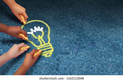 Community solutions and education diversity concept as a group of diverse children hands holding chalk drawing a lightbulb icon as a symbol of togetherness in a 3D illustration style.