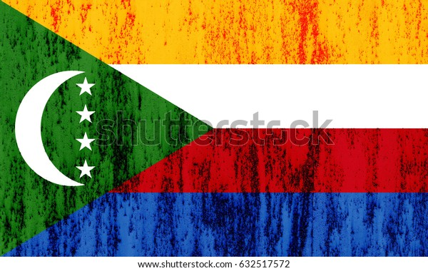Comoros flag grunge background. Background for design in country flag