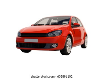 Compact Car Isolated on White Background, Shallow Depth of Field, Selective Focus, Automobile in Studio, Automobile Industry, Economy Car,  Auto Transport, Automotive Background, City Vehicle