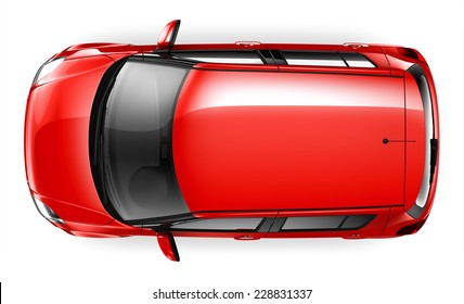 Compact car top view isolated on white