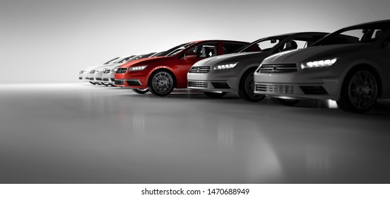 Compact cars fleet in the studio garage. A red one standing out. Choosing new car concept. Generic and brandless yet contemporary and elegant look. 3D illustration