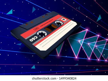 Compact cassette flying in space with laser rays and neon triangles for 80s styled new retro wave music party poster, banner or event invitation