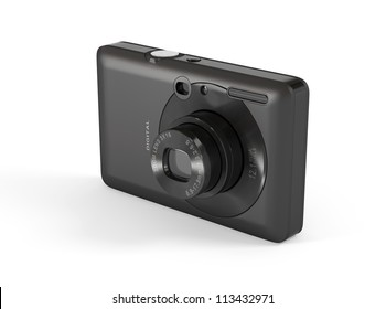 Compact Digital Camera - Isolated on White Surface