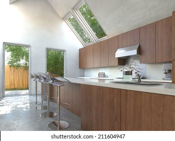 Compact Modern Open Plan Kitchen With Wooden Cabinets, A Bar Counter And  Contemporary Modular