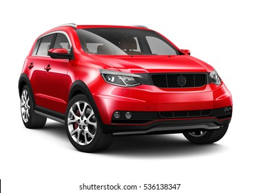 Compact Red SUV - 3D render on white