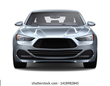 Compact silver car on a white background   - 3D Render