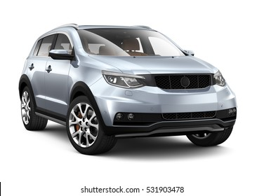 Compact silver SUV - 3D render on white