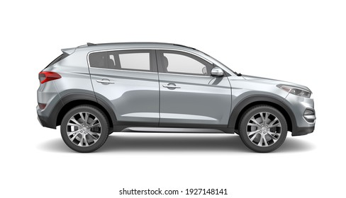 Compact  SUV on white background - side view (3D render)