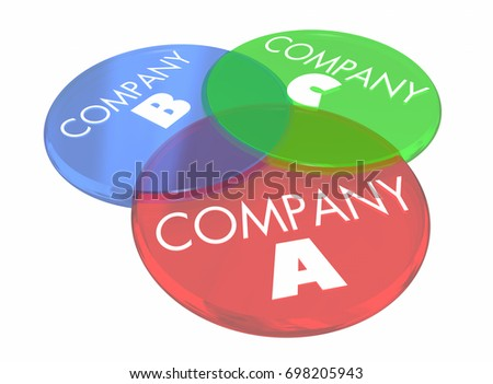 Company B C Venn Diagram Overlapping Stock Illustration 698205943
