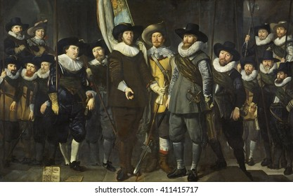 Company of Captain Allaert Cloeck and of Lieutenant Lucas Rotgans, Amsterdam, 1632, Dutch painting. By Thomas de Keyser, oil on canvas. Officers and other gunmen of District VIII in Amsterdam. The Du