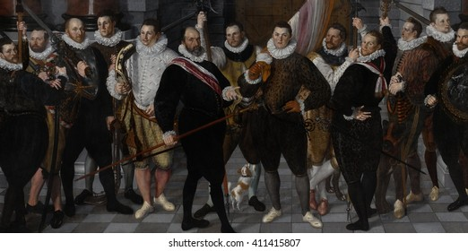 Company of Captain Dirck Rosecrans and Lieutenant Pauw, by Cornelis Ketel, 1588, Dutch oil painting. Thirteen officers of the Amsterdam militia. The Northern Provinces of Netherlands won their defact