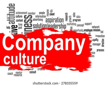Company culture word cloud image with hi-res rendered artwork that could be used for any graphic design.