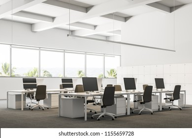 Company office interior with a gray carpet and rows of white computer desks. Industrial style interior with white walls and large windows with a tropical view. Lockers 3d rendering mock up