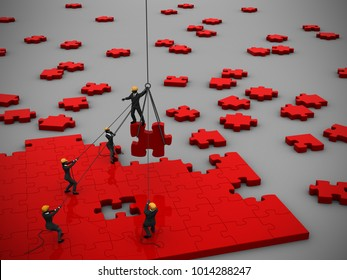 Company teamwork to manage a project of red jigsaw puzzle as 3d render. A great company teamwork to manage a project of red jigsaw puzzle pieces inspired by a great leader.