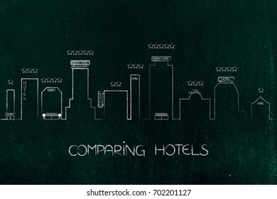 comparing hotels: city skyline with different accomodation buildings with signs and stars