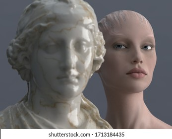 comparison of two standards of female beauty, Aphrodite and sci-fi woman, , 3d illustration