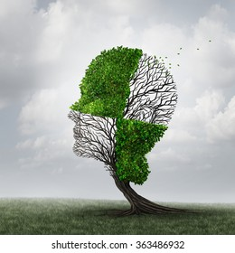 Compartmentalization and neurology compartmentalize psychology as a mind defense mechanism concept or mental health disease metaphor as dementia with a tree shaped as a head with a checkered pattern.