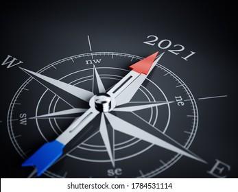 Compass 2021. 3d rendering illustration