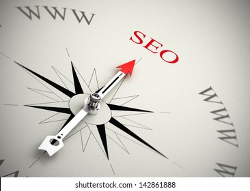 Compass with arrow pointing to SEO, 3D render with blur effect suitable for search engine optimization purpose