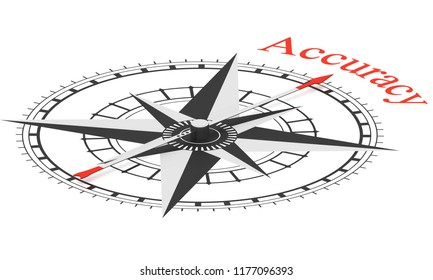 Compass with arrow pointing to the word Accuracy. Conceptual 3D render isolated on white