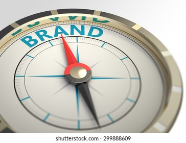 Compass and an arrow pointing to the word brand