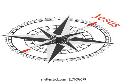 Compass with arrow pointing to the word Jesus. Conceptual 3D render isolated on white