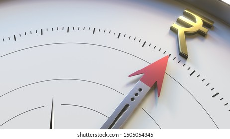 Compass arrow turns towards INR Rupee symbol. Forex indicator, financial consulting or Indian investment related conceptual 3D rendering