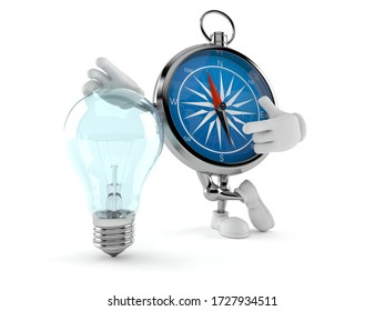Compass character with light bulb isolated on white background. 3d illustration