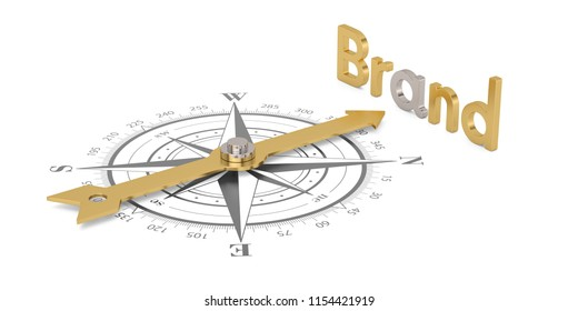 Compass with gold brand isolated on white background 3D illustration.