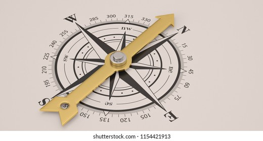 Compass with gold needle isolated on white background 3D illustration.