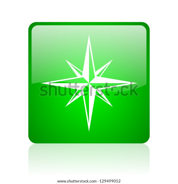 compass green square web icon on white background