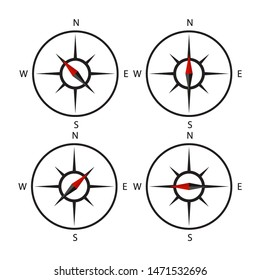 compass icon set design black set on white background