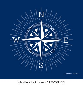 Compass illustration in flat style. Rose of the winds with starburst, sunburst ray elements