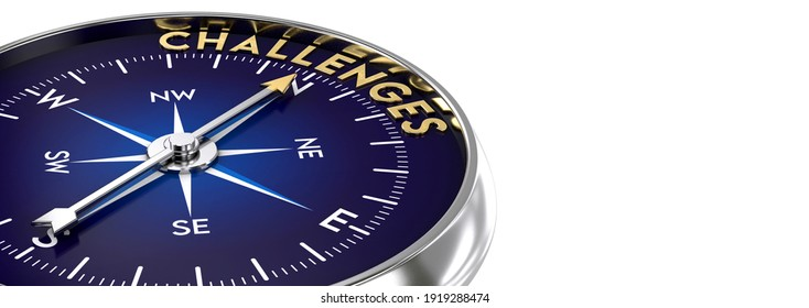 Compass made of metal and blue color. needle pointing to the golden challenges word. Marketing concept. 3D illustration