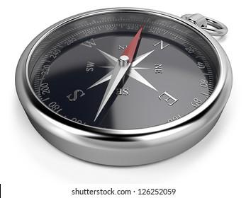 Compass. Metal compass, black dial.