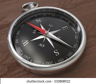 Compass. Metal compass, black dial. Wooden background. 3D render.