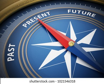Compass needle pointing present among past and future. 3D illustration.