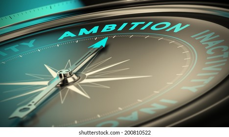 Compass needle pointing the word ambition over black background. Concept illustration of determination and having success