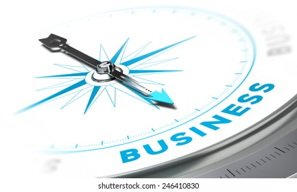 Compass with needle pointing the word business, white and blue tones. Background image for illustration of solutions concept