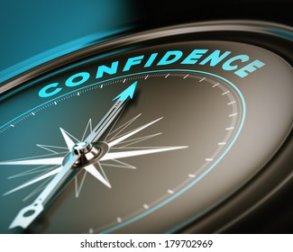 Compass with needle pointing the word confidence, self esteem concept with blue and brown tones. Focus on the top