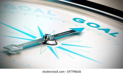 Compass, needle pointing the word goal, blue and beige tones. Illustration of objectives attainment or motivation, concept.