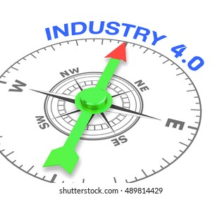 compass with the needle pointing the word industry 4.0, 3d rendering