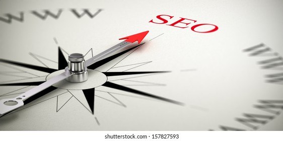 Compass with the needle pointing the word SEO, Search Engine Optimization concept image.