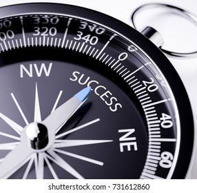 Compass with the needle pointing the word success. 3d rendering illustration with depth of field blur effect. Concept of business strategy success