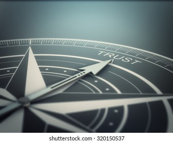Compass with the needle pointing the word trust, black background. Conceptual realistic 3D render image with depth of field blur effect. Concept for business solutions.