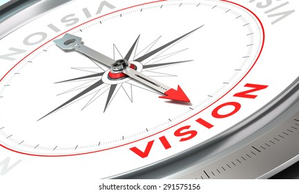 Compass with needle pointing the word vision. Conceptual illustration part two of a company statement, Mission, Vision and Value.