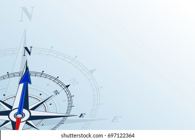 Compass north. Compass with wind rose, the arrow points to the north. Compass on a blue background.  Flat background with copy space.