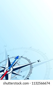 Compass northeast background illustration. Arrow points to the northeast.  can be used as background. Travel concept with copy space place.
